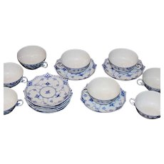 Set of Eight Royal Copenhagen Blue and White Fluted Full Lace Flat Cups and Saucers, 1958