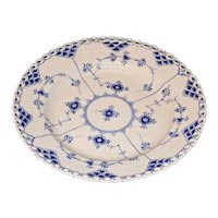 Vintage Royal Copenhagen Blue and White Fluted Full Lace Luncheon Plate, Circa 1954