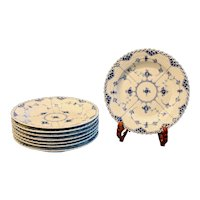 Vintage Royal Copenhagen Blue and White Fluted Full Lace Dinner Plates, Circa 1950's