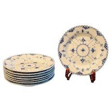 Royal Copenhagen Blue and White Fluted Full Lace Dinner Plates, 1962