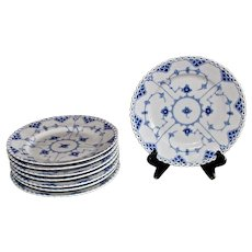 Royal Copenhagen Blue and White Fluted Full Lace Salad Plates, 1969