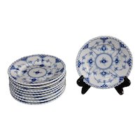 Vintage Royal Copenhagen Blue and White Fluted Full Lace Bread & Butter Plates