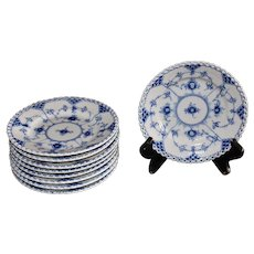 Royal Copenhagen Blue and White Fluted Full Lace Bread & Butter Plates