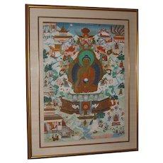 Exquisite 19th Century Tibetan Thangka with Shakyamuni