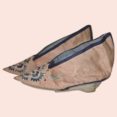 Antique Chinese Embroidered Silk Lotus Slippers