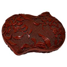 Old Chinese Cinnabar Lacquer Double Peach Box