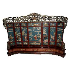 Exquisite Chinese Inlaid Multi-Color Hard Stone & Soapstone Lacquer Screen
