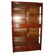 Vintage Chinese Style Rosewood Curio Cabinet With Glass Doors