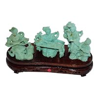 Chinese Carved Turquoise Group of Females Figures