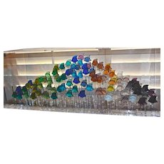 Magnificent Vintage Lalique Aquarium of 93 Crystal Fish