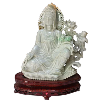 Chinese Carved Seated Green Jade Guanyin with a Child