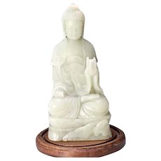 Superb Vintage Chinese Carved White Jade Seated Buddha