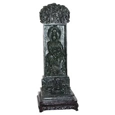 Vintage Chinese Carved Spinach Jade Stele with Guanyin and Tortoise