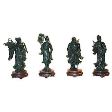"""Magnificent Chinese Carved Spinach Jade  """"Ba Xian"""""""