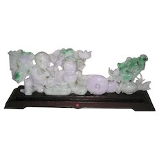 Chinese Carved Lavender and Green Jadeite of Hehe Erxian
