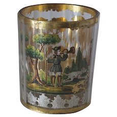 Two Late 1800's Bohemian Double-Walled Small Cups with Hunting Scenes