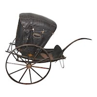 Elaborate 1800's Child's Leather Covered 2-Wheeled Carriage