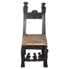 Old African Anthropomorphic Chokwe Wood Tribal Chair