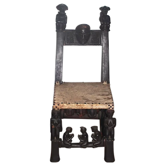 Old African Anthropomorphic Chokwe Wood Tribal Chair