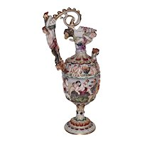 Early 1900's Exquisite Capo di Monte Porcelain Ewer with Angels