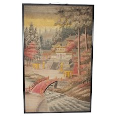 Vintage Large Japanese Embroidered Panel of a Temple