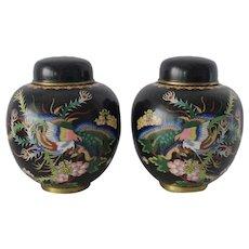 Vintage Chinese Black Cloisonne Jars Elaborate with Phoenix Birds