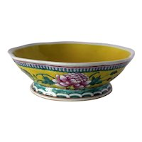 Impressive Vintage Large Vivid Yellow Bowl with Colorful Floral Decoration