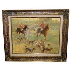 "Oil Painting ""Hunting Scene"" Bye Bitney"