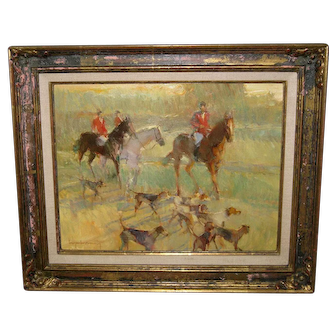 "Oil Painting ""Hunting Scene"" Bye Bitney"