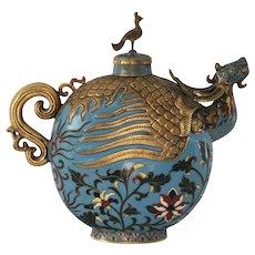 Vintage Chinese  Cloisonné Wine Jar with Dragon Head Spout