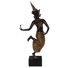 Vintage Decorative Bronze & Gilt Thai Female Deity Apsara