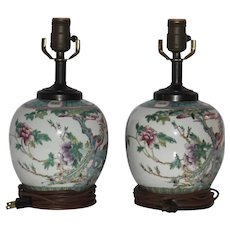 Pair of Old Chinese Porcelain Vases Converted into Lamps