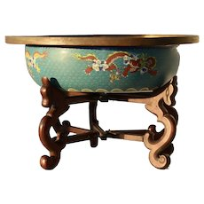 Impressive Vintage Chinese Large Enamel Cloisonné Dragon Bowl with Wood Stand