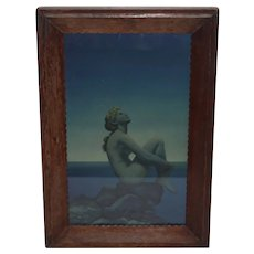 """1920's """"Stars"""" Framed Color Lithograph Print by Maxfield Parish"""