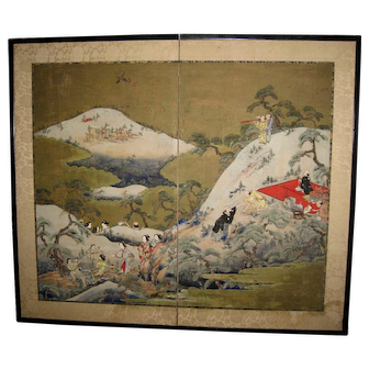 "Antique Japanese Screen ""Mushroom Hunting"" Scene"
