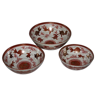Three Japanese Porcelain Kutani Red-Gold Porcelain Bowls