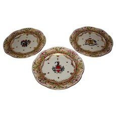 Belle Époque  Italian Capodimonte Armorial Porcelain Plates