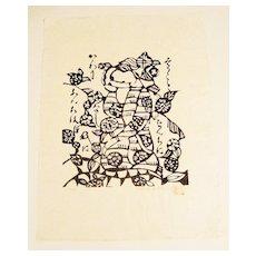 "Original Stencil Print ""Kneeling Figure"" by Sado Watanabe"