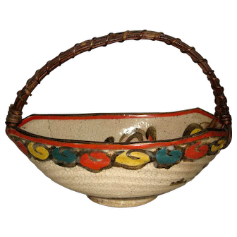 Japanese Studio Pottery Bowl with a Basket Handle