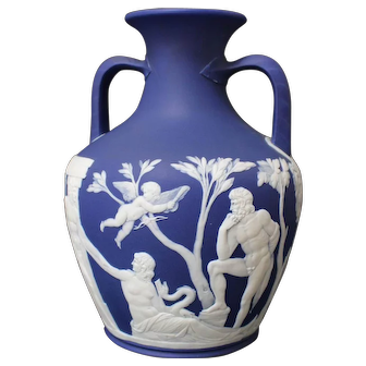19th Century Wedgewood Jasperware Dark-Blue Double-Handled Vase