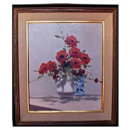 Red Floral Still Life Painting by Andre Gisson (1921-2003)