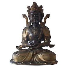 Elaborate Gilt Bronze Buddhist Figure of a Seated Avalokitesvara