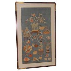 Beautiful 19th Century Chinese  Cut Blue Silk and Silver Metal Kesi