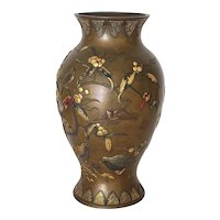 Magnificent Taisho Period Japanese Mixed-Metal Bronze Vase