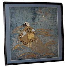 Meiji Period Japanese Silk and 24 Karat-Gold Couched Fukusa of Ebisu