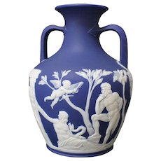 19th Century Wedgwood Jasperware Dark-Blue Double-Handled Portland Vase