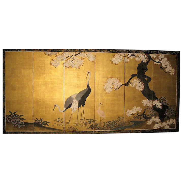 Exquisite Japanese Edo Style Folding Screen With Cranes Eurasia Fine Art Gallery Ruby Lane