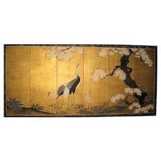 Exquisite Japanese Edo Style Folding Screen with Cranes