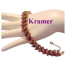 KRAMER Sparkling RED Marquise & Purple / Amethyst Rhinestones BRACELET