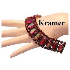 KRAMER Radiant RUBY RED Rhinestones & Killer RED Iridescent Red Marquise BRACELET